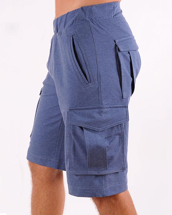 Шорты мужские трикотажные синие с карманами размеры 48-54