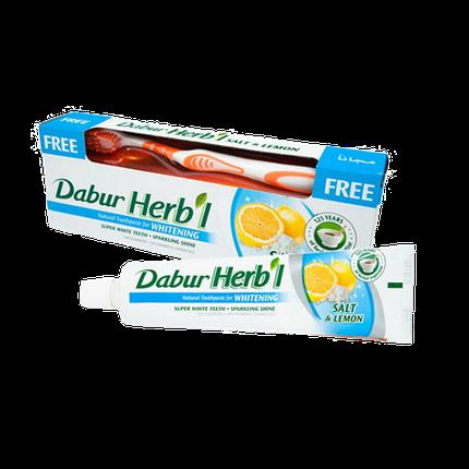 Зубная паста Соль и лимон Dabur Herb'l 150г + щетка, фото 2