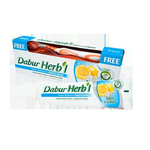Зубная паста Соль и лимон Dabur Herb'l 150г + щетка