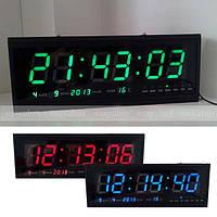 Часы, электронные, настенные, с датой, термометром, большие, яркие, качественные, надежные
