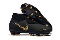 Бутсы Nike Phantom Vision Elite DF FG black/gold, фото 1