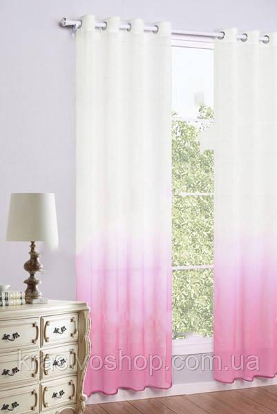 Тюль  лен растяжка розовый