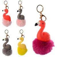 Аксессуар для сумки 1279_4 (150шт) фламинго12_6_4см, брелок18см,помпон,микс цв,упаковка 6шт в кульке