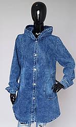 Женский джинсовый кардиган с капюшоном (52-62 р)