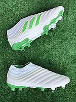 Бутсы Adidas Copa 19+FG/AG White/адидас копа без шнурков