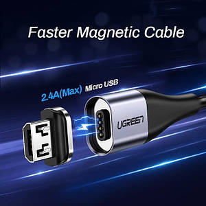 Ugreen Magnetic USB Cable кабель магнітний Micro USB 1 метр в обплетенні для зарядки і синхронізації. Чорний