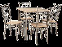 Стол обеденный деревянный Fit дуб сонома + 4 стула Signal алюминий