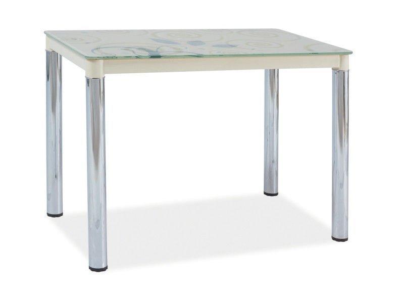 Стол обеденный стеклянный Damar II Signal кремовый