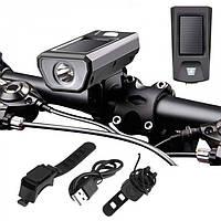 Велофара, велофонарь аккумуляторный, звонок FY-316 + солнечная панель, фото 1