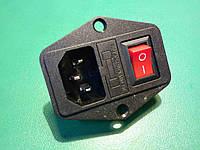 Входной модуль монтажный гнездо разъем штекер сетевой с предохранителем и клавишей 2 контактной, фото 1