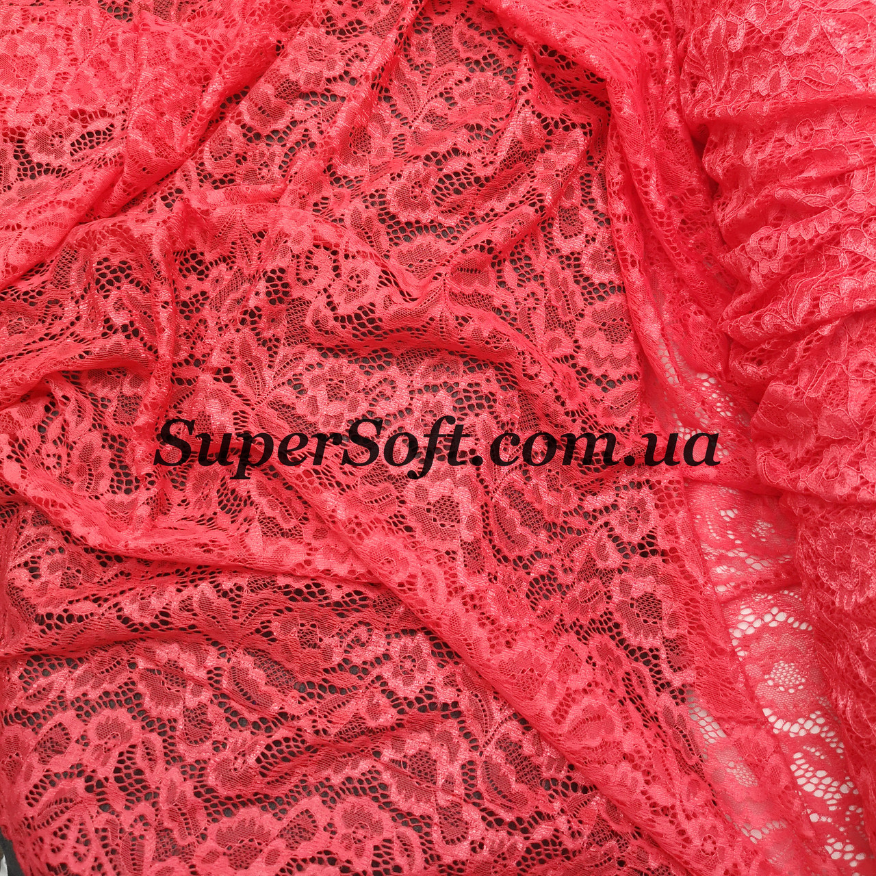 Ткань гипюр Мария коралловый