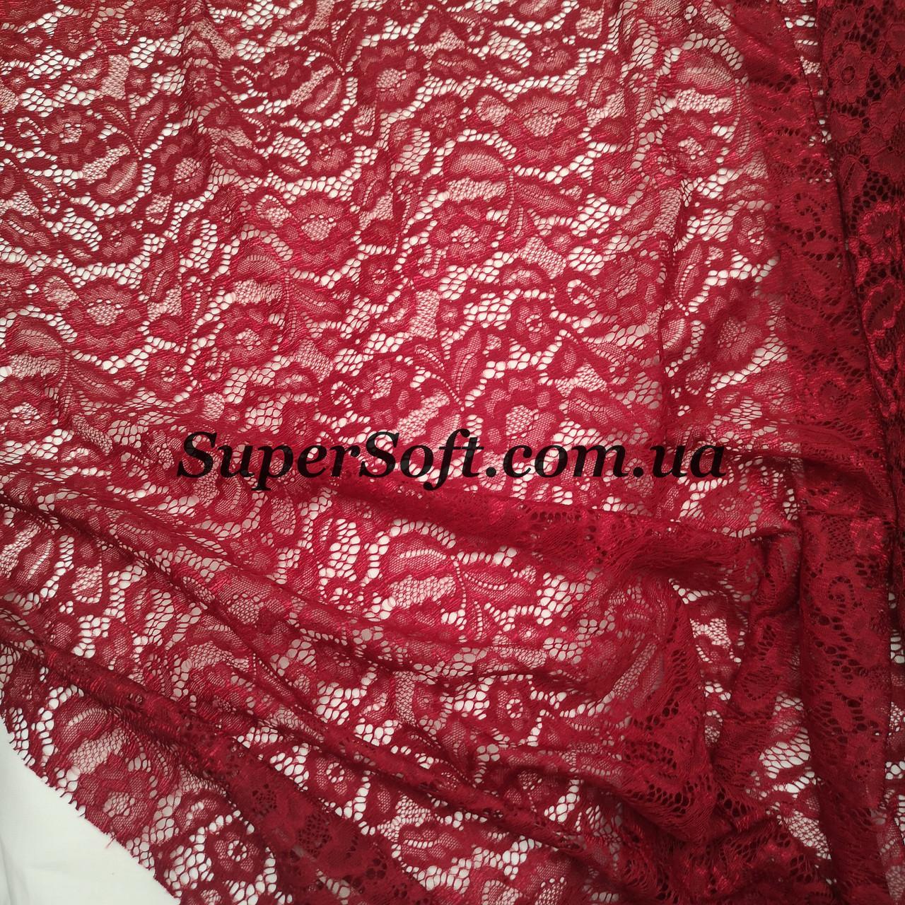 Ткань гипюр Мария бордовый, фото 1