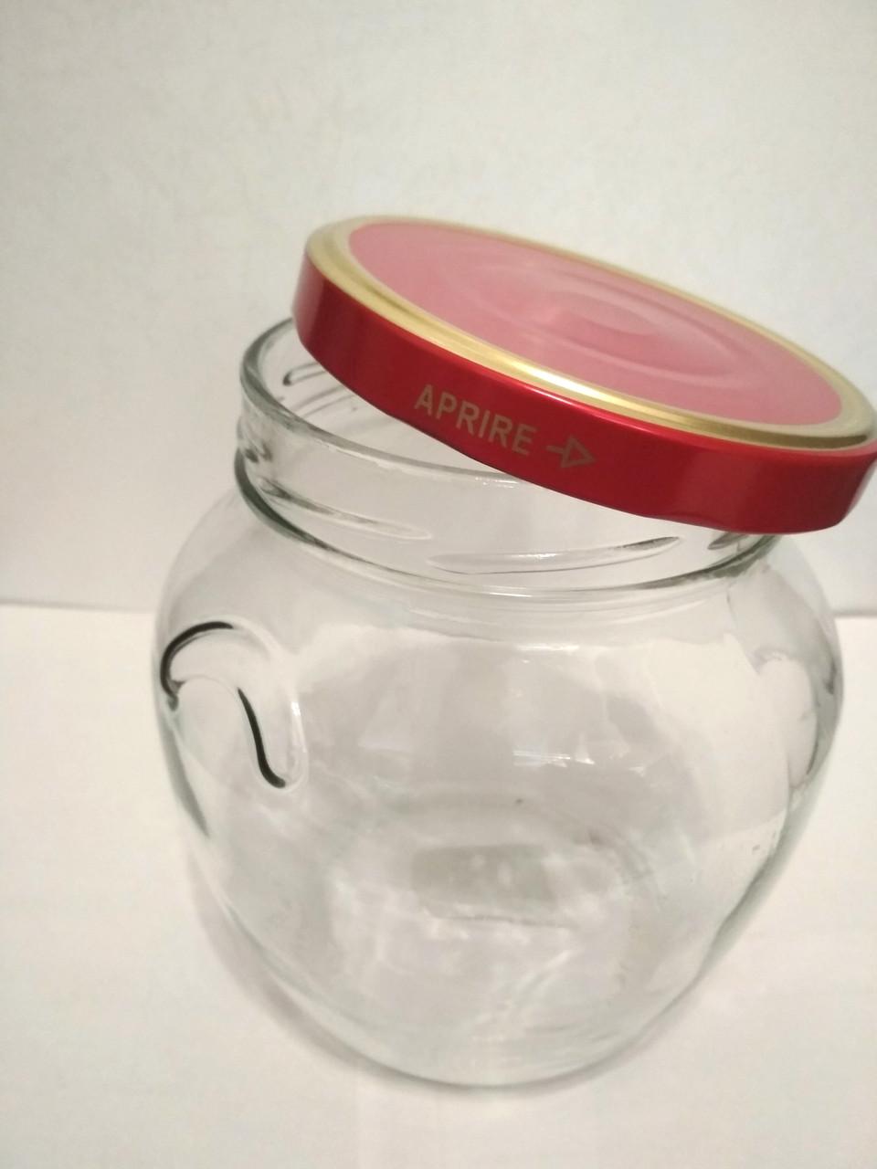 Банка стеклянная для консервации 1700 мл Everglass Амфора с металлической красной крышкой Twist-off - фото 2