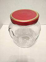 Банка стеклянная для консервации 1700 мл Everglass Амфора с металлической красной крышкой Twist-off