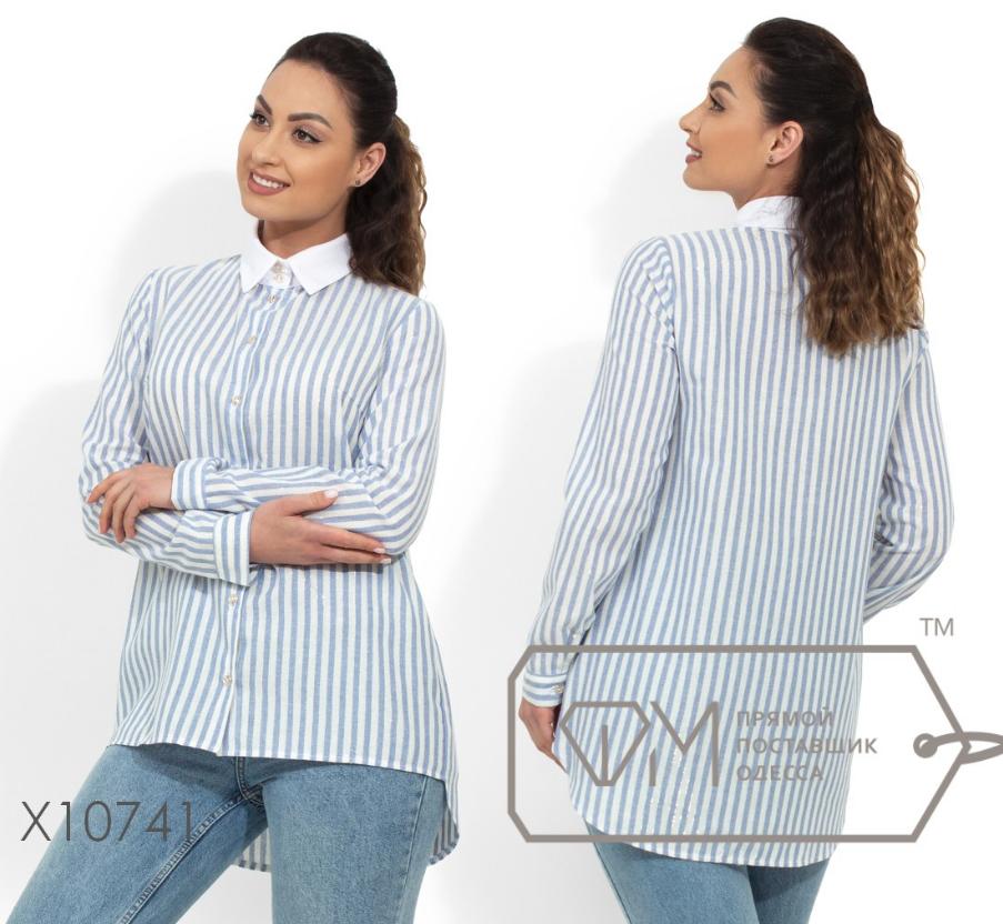 d9fb8c57302 Льняная женская рубашка в полоску большого размера 48