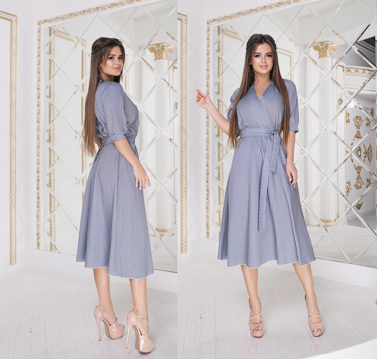 Льняное платье длины миди в полоску