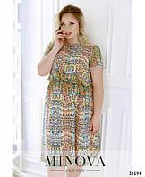 e515751757f Шифоновое платье с короткими рукавами и струящимся подолом (размеры 48-62)