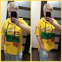Женская футболка с капюшоном в расцветках, р-р 44-52. РО-12-0419