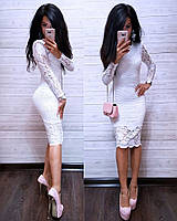 Шикарное платье из дорогого гипюра, белое, фото 1