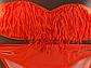 Оранжевый  раздельный купальник с лифом бандо и бахромой, фото 9