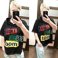 Женская футболка с капюшоном в расцветках, р-р 44-52. РО-14-0419