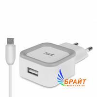 USB зарядка HAVIT UC217S с Micro-USB кабелем 1 метр, 1A черный/белый