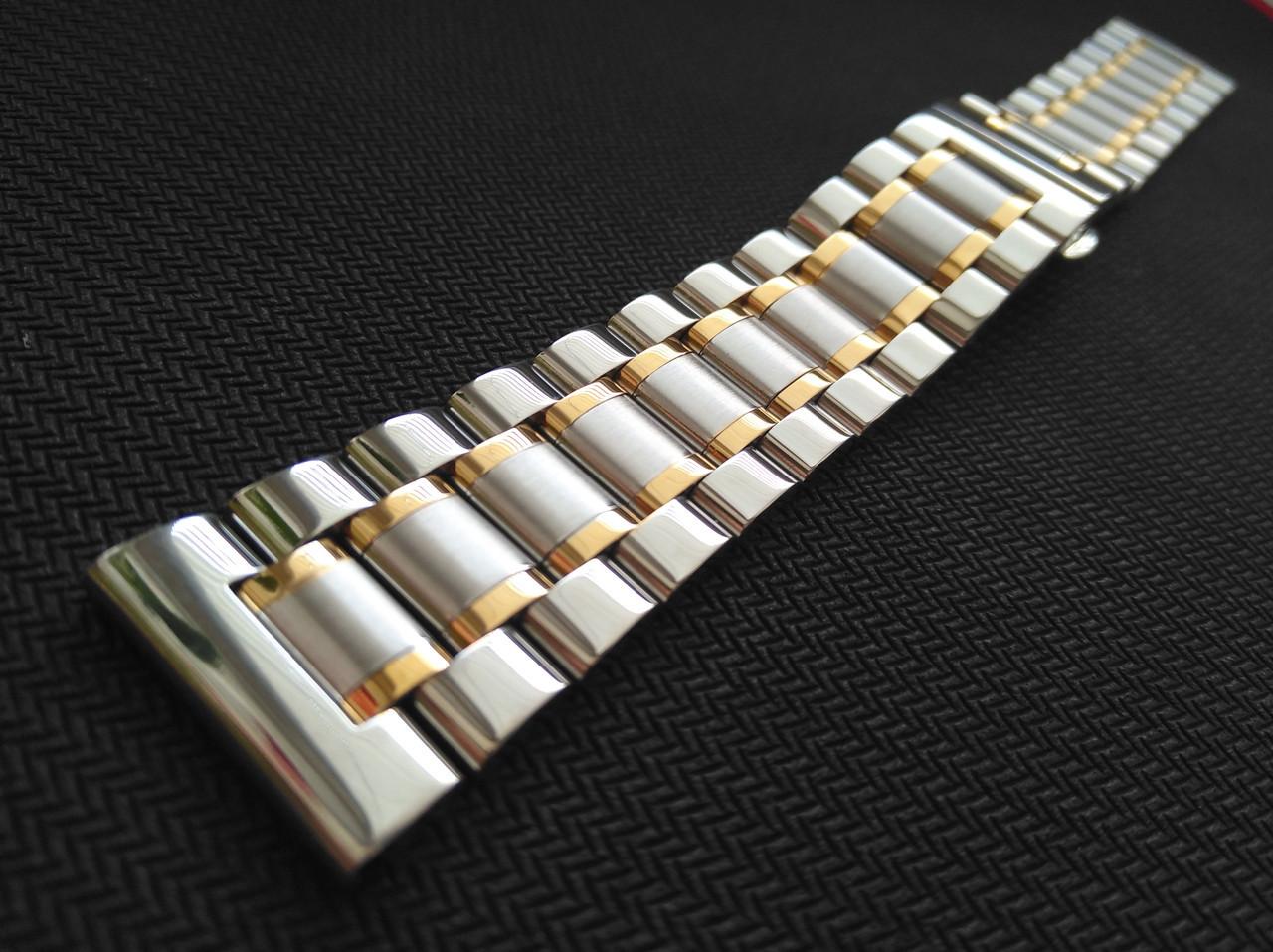 Браслет для часов из нержавеющей стали 316L, литой, глянец/мат с позолотой. 20 мм