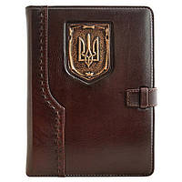Кожаный ежедневник Герб Украины Коричневый