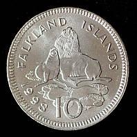 Монета Фолклендских островов 10 пенсов 1998 г.