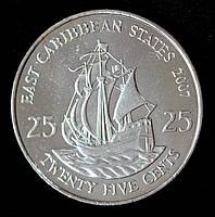 Монета Восточно - Карибских штатов 25 центов 2007 г.