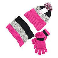 Шапка снуд перчатки Suve для 7-12 лет Розово-чёрный TUR 50221 pink-black, КОД: 152791
