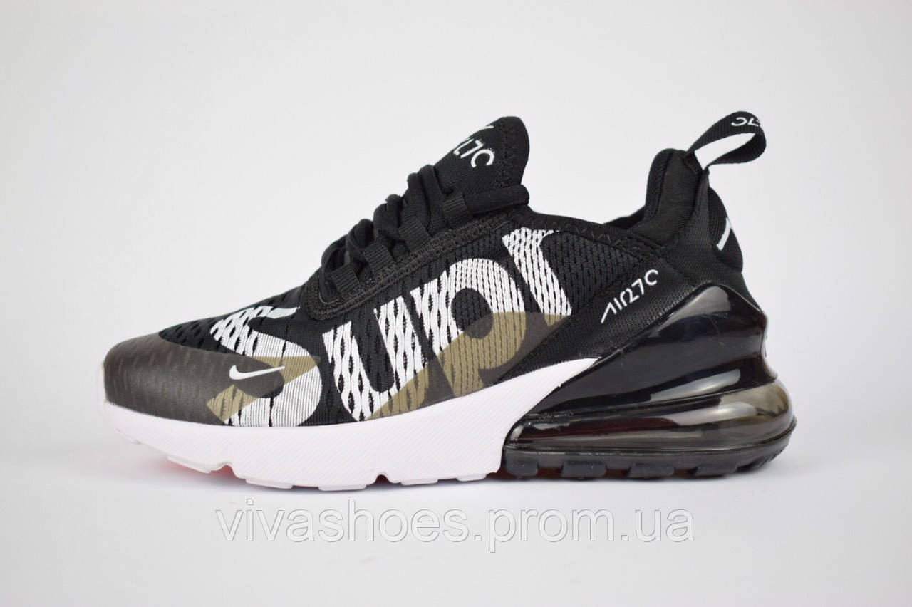 b65c3b64 Черные. Кроссовки женские Nike Air Max 270 Supreme в стиле Найк Аир Макс  Супрем, текстиль,
