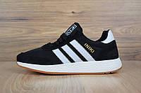 Кроссовки женские Adidas Iiki в стиле Адидас Иники, замша, текстиль код D-2794. Черные с белым