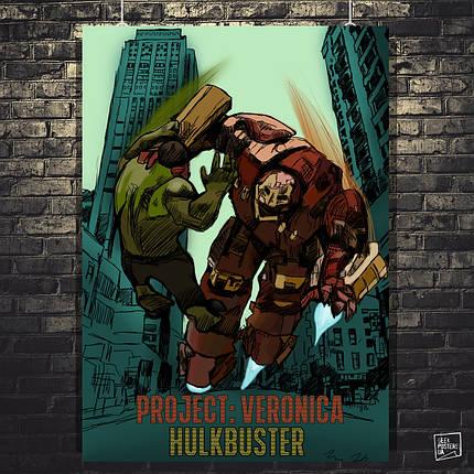 Постер Халкбастер и Халк, Железный Человек. Размер 60x42см (A2). Глянцевая бумага, фото 2