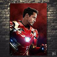 Постер Тони Старк в костюме. Iron Man, Железный Человек. Размер 60x42см (A2). Глянцевая бумага