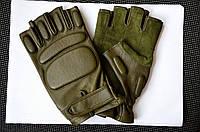 Перчатки тактические кожаные оливковые