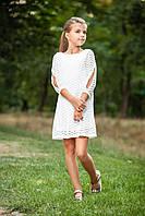 """Нарядное детское платье """"Зигзаг"""" р. 116-134 белое"""