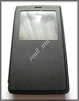 Черный кожаный чехол-книжка для смартфона Xiaomi Redmi Note