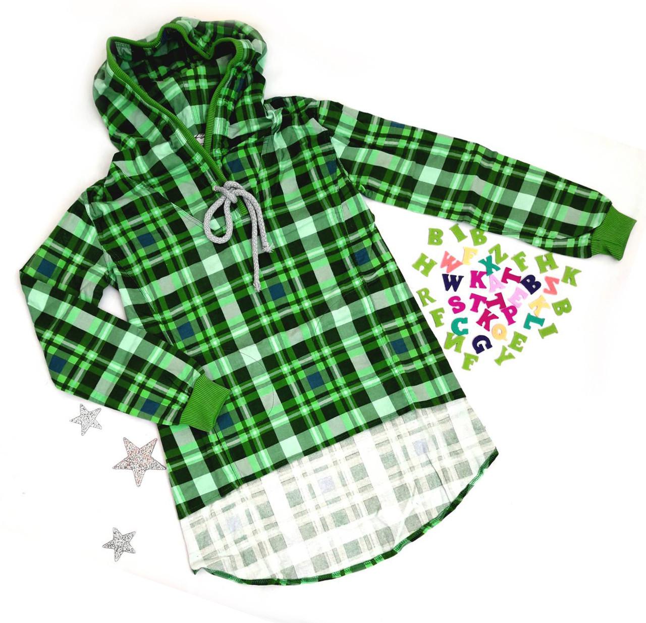 8737746e21a44 Модная детская туника-рубашка на байке р. 152-164 (полномер) зеленая ...
