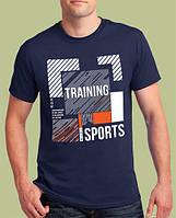 """0005-TSRA-150 NY    Мужская  футболка """" TRAINING """" Тёмно-синяя"""