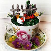 Пасхальный подарок и украшение на пасху Чашка с пасхальным декором Ручная работа
