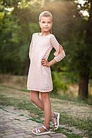 """Детское нарядное платье """"Зигзаг"""", р. 116-134 розовое, фото 1"""