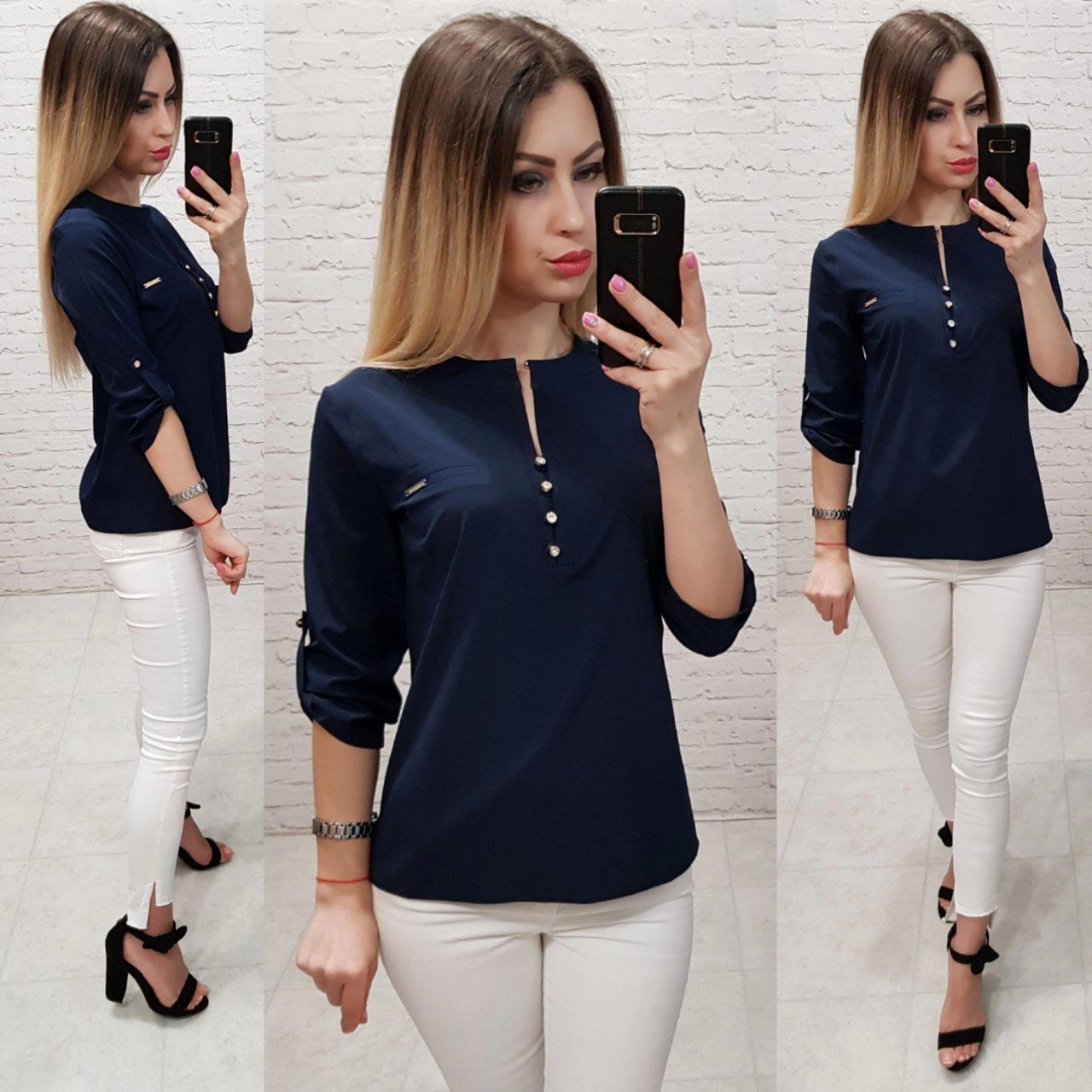 Блуза / блузка арт. 830 тёмно синего цвета  /  цвет синий тёмный