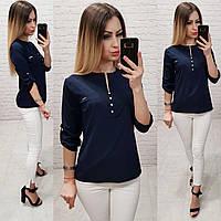 Блуза / блузка арт. 830 тёмно синего цвета  /  цвет синий тёмный, фото 1