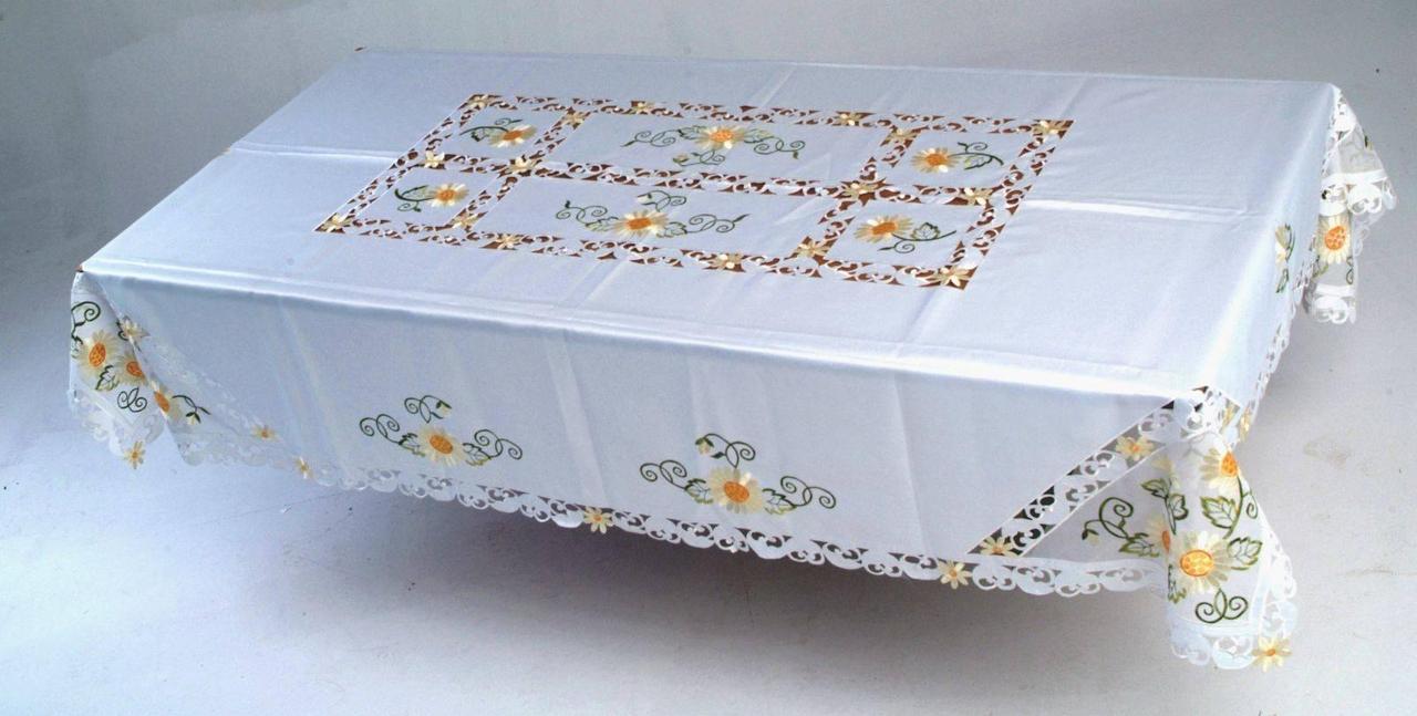Скатерть на кухонный стол170*130 подсолнухи на органзе