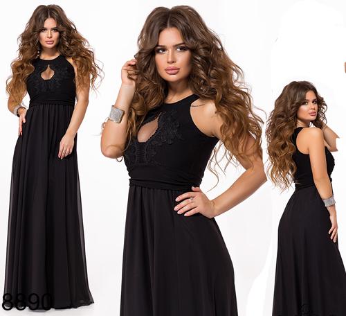 Вечернее женское платье в пол с кружевом (черный) 828890