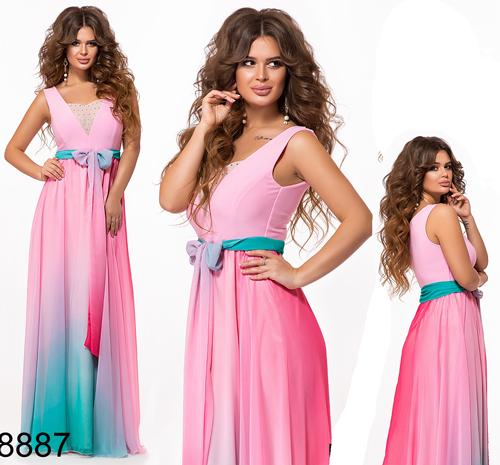 Выпускное длинное платье омбре без рукавов (розовый) 828887