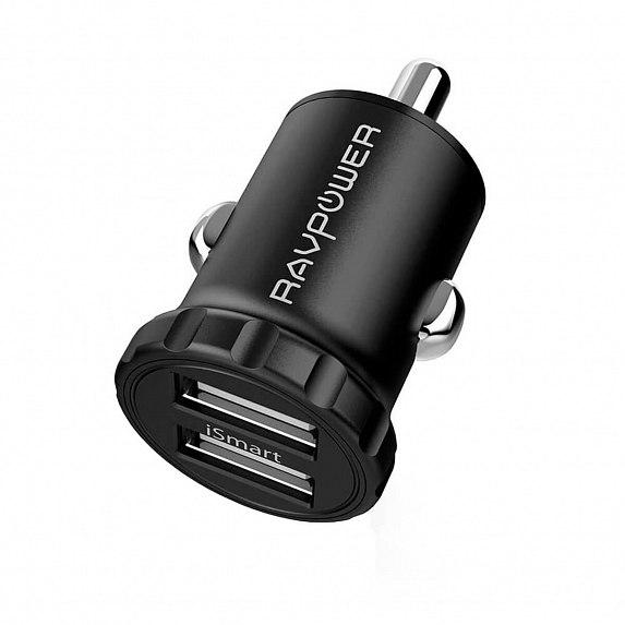 Авто з/у RAVPower Mini Dual USB Car Charger 24W 4.8A with iSmart 2.0 Charging Tech (RP-PC031)