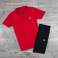 Шорты + футболка поло в стиле Lacoste / мужской спортивный костюм летний Red