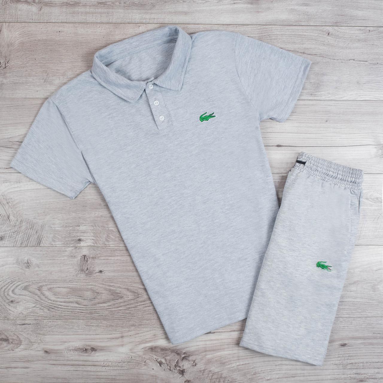 ac94a788e752 Шорты + футболка поло в стиле Lacoste / мужской спортивный костюм летний  Grey